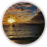 Sailing Into The Sun Round Beach Towel