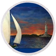 Sailing Liberty Round Beach Towel