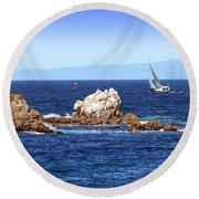 Sailing Monterey Bay Round Beach Towel