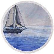 Sailing Off Cape May Point Round Beach Towel
