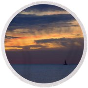 Sailing On A Paint Brush Round Beach Towel