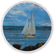 Sailing On A Summer Day Round Beach Towel