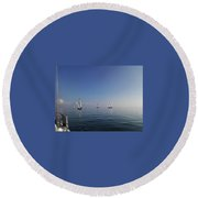 Sailing On Glass Round Beach Towel