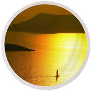 Sailing On Gold 1 Round Beach Towel