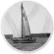 Sailing On Lake Murray S C Black And White Round Beach Towel