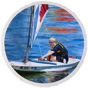 Sailing On Lake Thunderbird Round Beach Towel