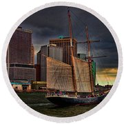 Sailing On The East River Round Beach Towel