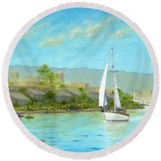 Sailing Out To Sea Round Beach Towel