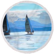 Sailing Race Round Beach Towel