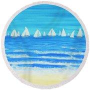 Sailing Regatta White Round Beach Towel