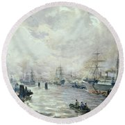 Sailing Ships In The Port Of Hamburg Round Beach Towel