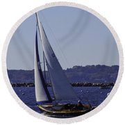 Sailing Stonington Harbor Round Beach Towel