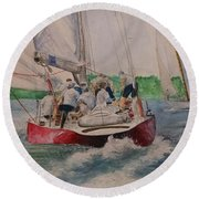 Sailing Teamwork Round Beach Towel
