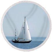 Sailing The Coast Round Beach Towel