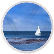 Sailing The Ocean Blue Round Beach Towel