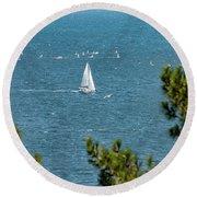 Sailing The Sea Of Marmara Round Beach Towel