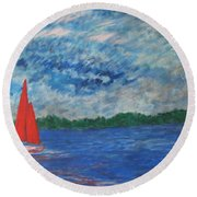 Sailing The Wind Round Beach Towel