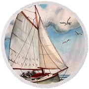 Sailing Through Open Waters Round Beach Towel