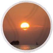 Sailing Through The Islands At Sunset Round Beach Towel