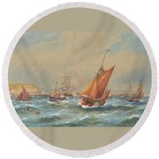 Sailing Vessels Off A Harbour Entrance Round Beach Towel