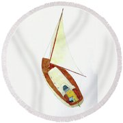 Sailing Watercolor Round Beach Towel