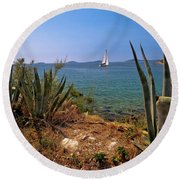 Sailing Waterfront Of Prvic Island View Round Beach Towel