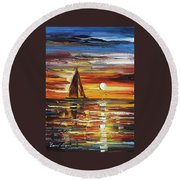 Sailing With The Sun Round Beach Towel
