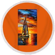Sailing With The Sun - Palette Knife Oil Painting On Canvas By Leonid Afremov Round Beach Towel