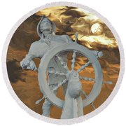 Sailor In Coming Storm Round Beach Towel