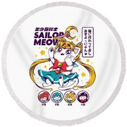 Sailor Meow Round Beach Towel