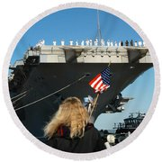 Sailors Aboard Aircraft Carrier Uss Round Beach Towel
