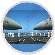Sailors Aboard The Aircraft Carrier Uss Nimitz  Round Beach Towel
