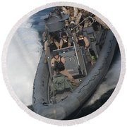 Sailors Operate A Rigid-hull Inflatable Round Beach Towel