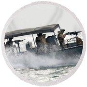 Sailors Patrol Kuwait Naval Bases Round Beach Towel