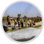 Sailors Racing Along The Euphrates Round Beach Towel