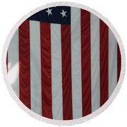 Sailors Stand In Front Of The American Round Beach Towel