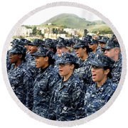 Sailors Yell Before An All-hands Call Round Beach Towel by Stocktrek Images