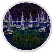 Sails At Sunrise Round Beach Towel