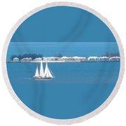 Sails In Bermuda Round Beach Towel