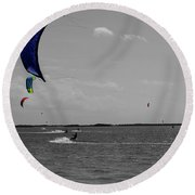Sails In Color Round Beach Towel