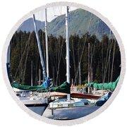 Sails Of Seldovia Round Beach Towel