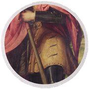 Saint Alexander A Panel From The Altarpiece The Nativity With Saints Round Beach Towel
