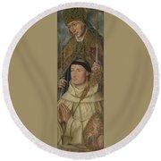 Saint Ambrose With Ambrosius Van Engelen   Round Beach Towel