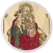 Saint Anne, The Madonna And Child, And A Franciscan Monk Round Beach Towel