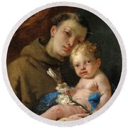 Saint Anthony Of Padua And The Infant Christ Round Beach Towel