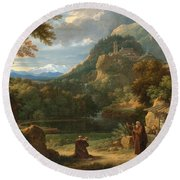 Saint Anthony Of Padua Introducing Two Novices To Friars In A Mountainous Landscape Round Beach Towel