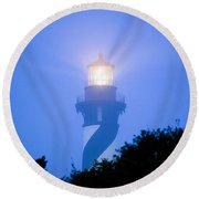 Saint Augustine Lighthouse In The Fog Round Beach Towel