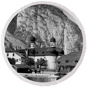 Saint Bartoloma On Konigssee Lake Round Beach Towel