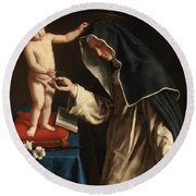 Saint Catherine Of Siena Receiving The Crown Of Thorns From The Christ Child Round Beach Towel