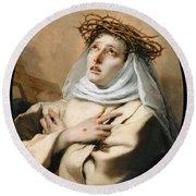 Saint Catherine Of Sienna Round Beach Towel